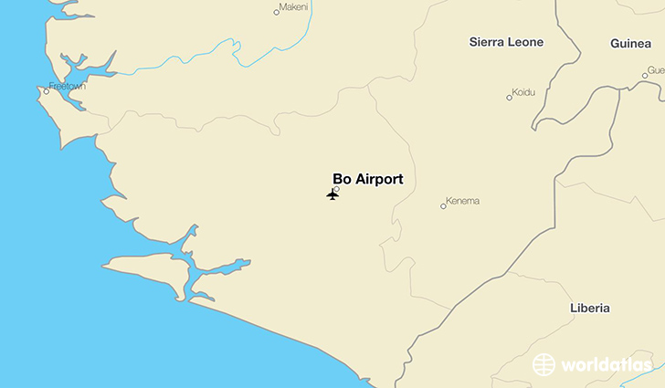 Bo Airport location on a map