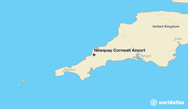 Newquay Cornwall Airport location on a map
