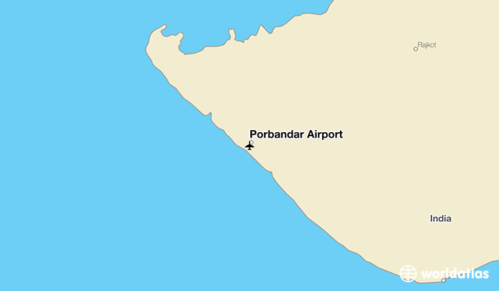 Porbandar Airport location on a map