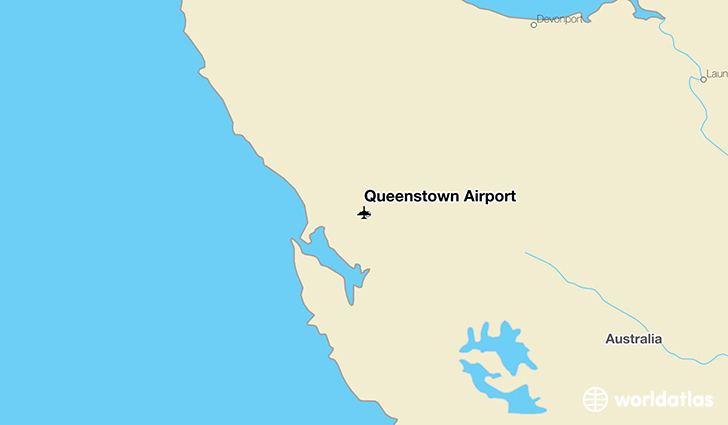 Queenstown Airport location on a map