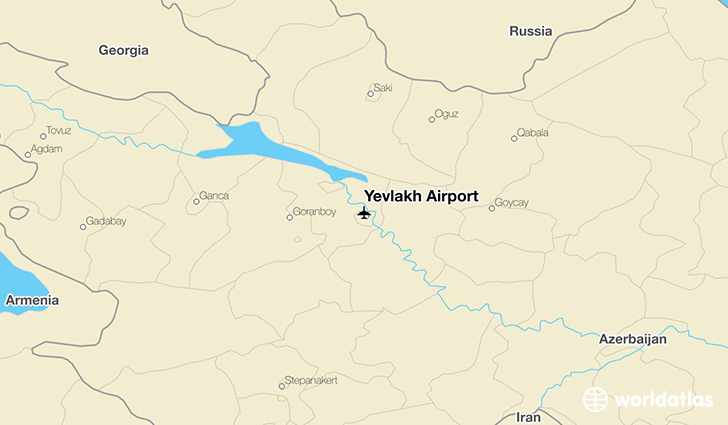 Yevlakh Airport location on a map