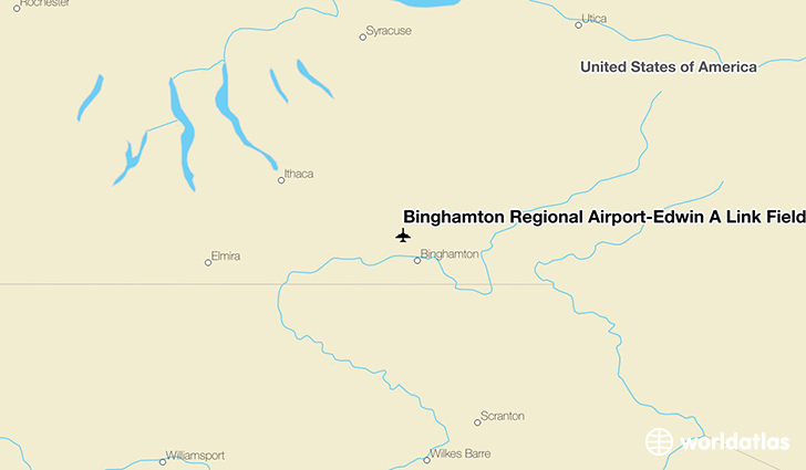 Binghamton Regional Airport-Edwin A Link Field location on a map