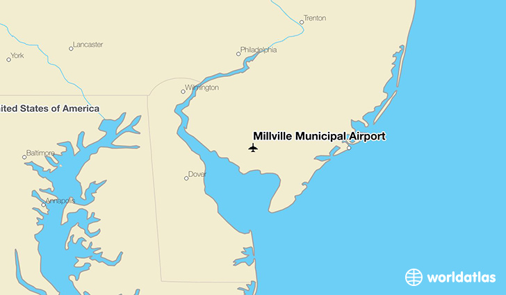Millville Municipal Airport location on a map
