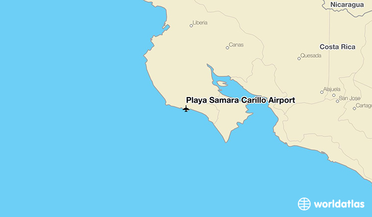 Playa Sámara Carillo Airport location on a map