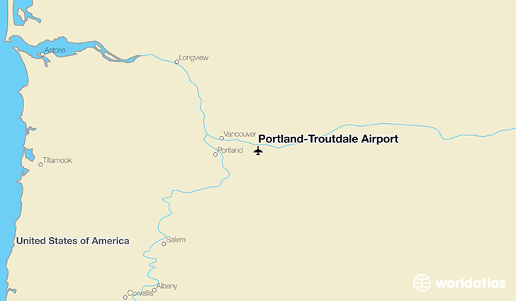 Portland-Troutdale Airport location on a map