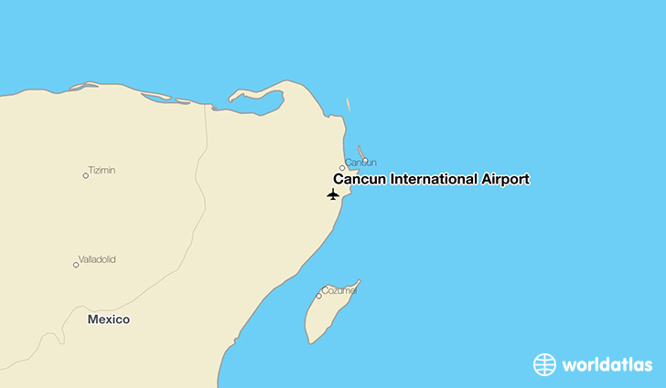 Cancún International Airport location on a map
