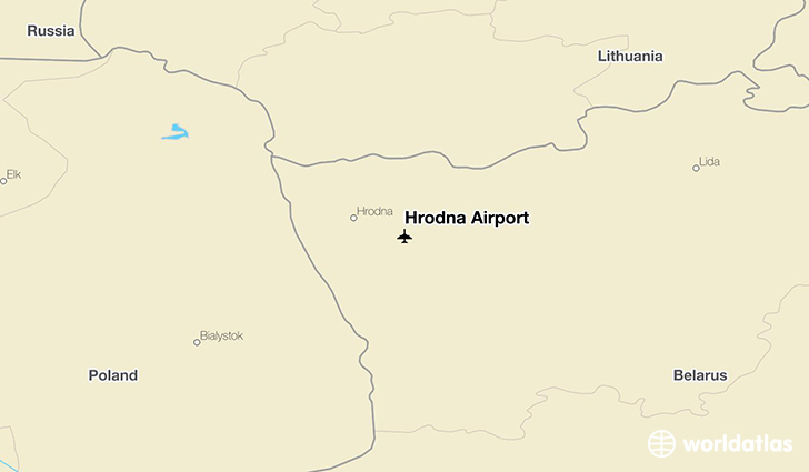 Hrodna Airport location on a map