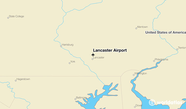 Lancaster Airport location on a map