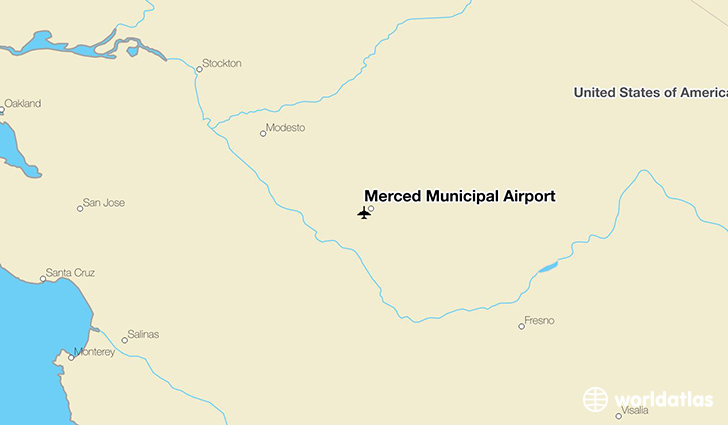 Merced Municipal Airport location on a map