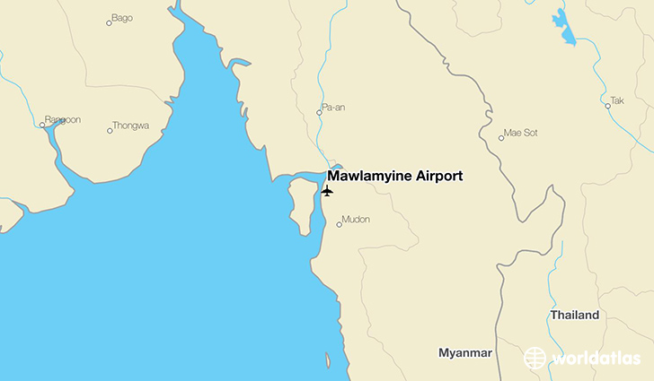 Mawlamyine Airport location on a map