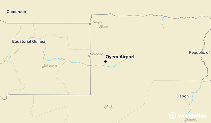 Oyem Airport location on a map