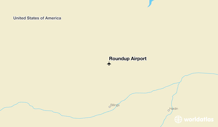 Roundup Airport location on a map