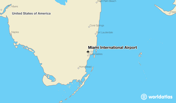 Miami International Airport location on a map