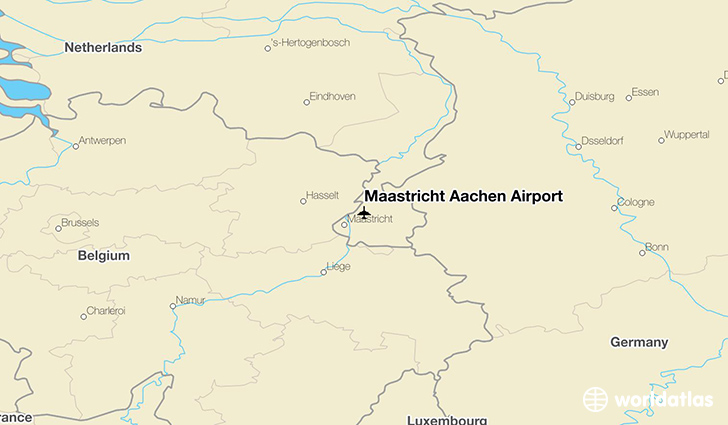 Maastricht Aachen Airport location on a map