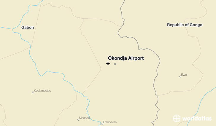 Okondja Airport location on a map