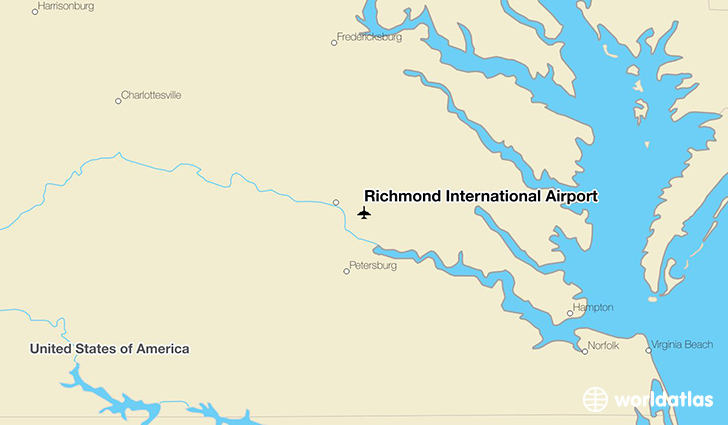 Richmond International Airport location on a map