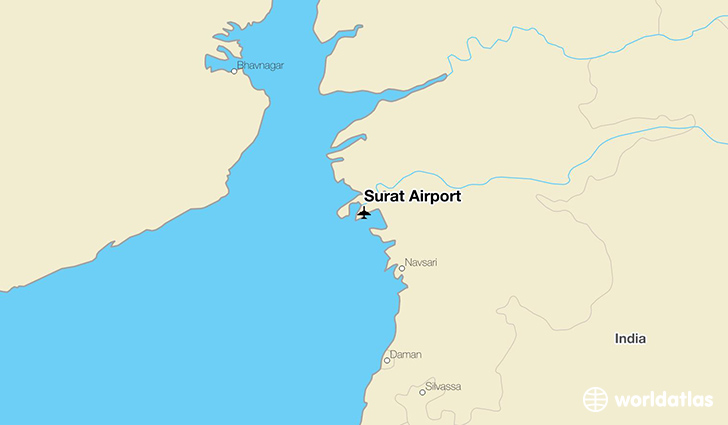 Surat Airport location on a map