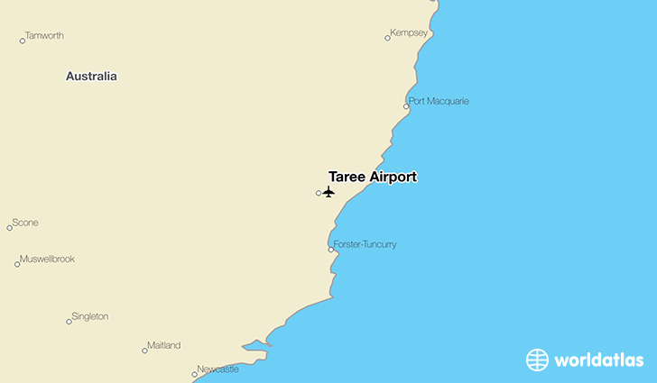 Taree Airport location on a map
