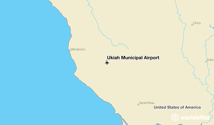 Ukiah Municipal Airport location on a map