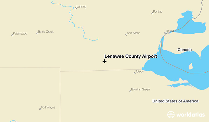 Lenawee County Airport location on a map
