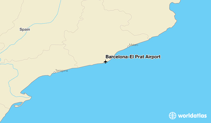 Barcelona–El Prat Airport location on a map