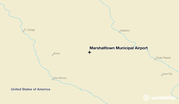 Marshalltown Municipal Airport location on a map