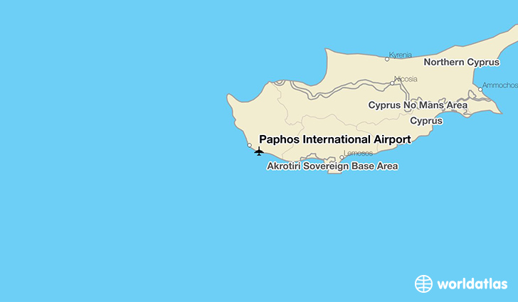 Paphos International Airport location on a map