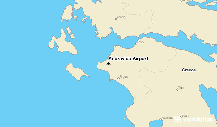 Andravida Airport location on a map