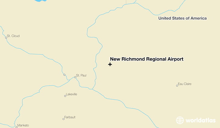 New Richmond Regional Airport location on a map