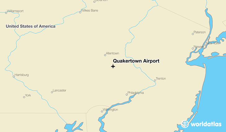Quakertown Airport location on a map