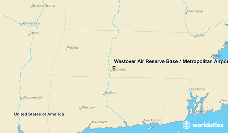 Westover Air Reserve Base / Metropolitan Airport location on a map