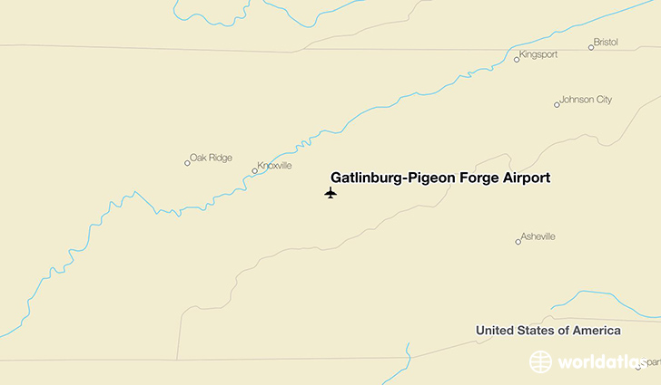 Gatlinburg-Pigeon Forge Airport location on a map