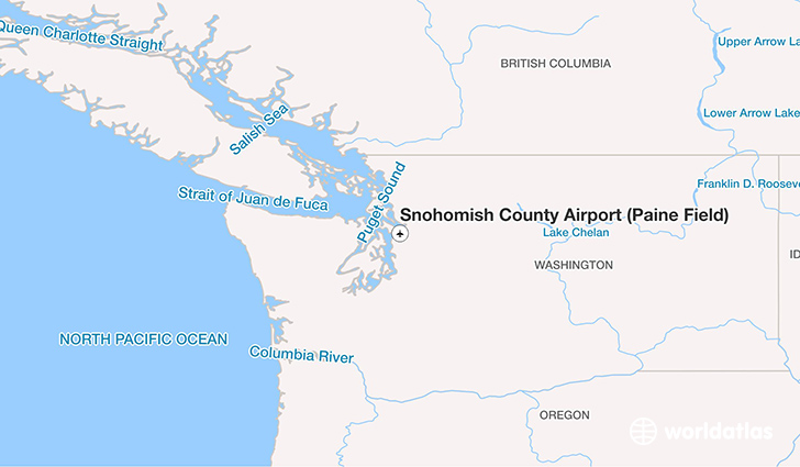 Snohomish County Airport (Paine Field) location on a map