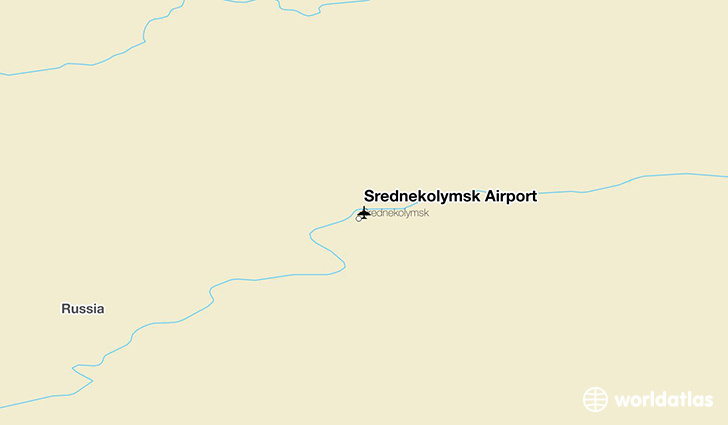 Srednekolymsk Airport location on a map