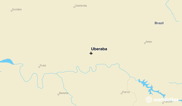 Uberaba location on a map