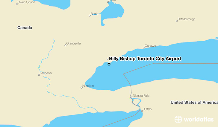 Billy Bishop Toronto City Airport location on a map