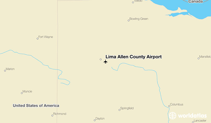 Lima Allen County Airport location on a map