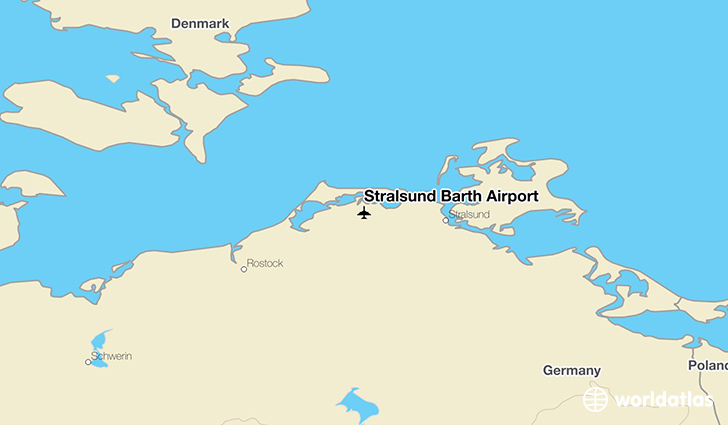Stralsund Barth Airport location on a map