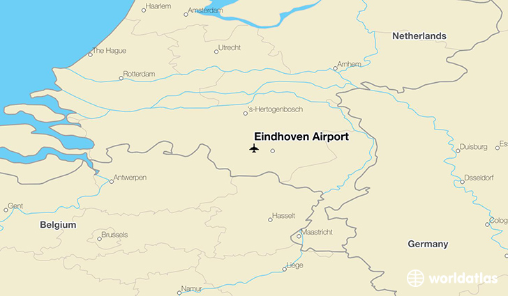 Eindhoven Airport location on a map