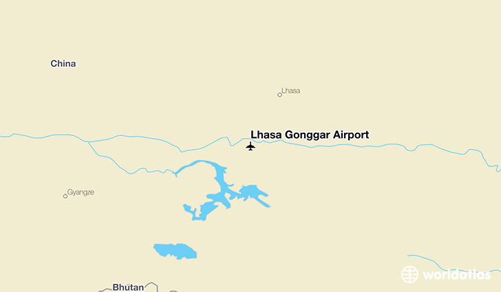 Lhasa Gonggar Airport location on a map