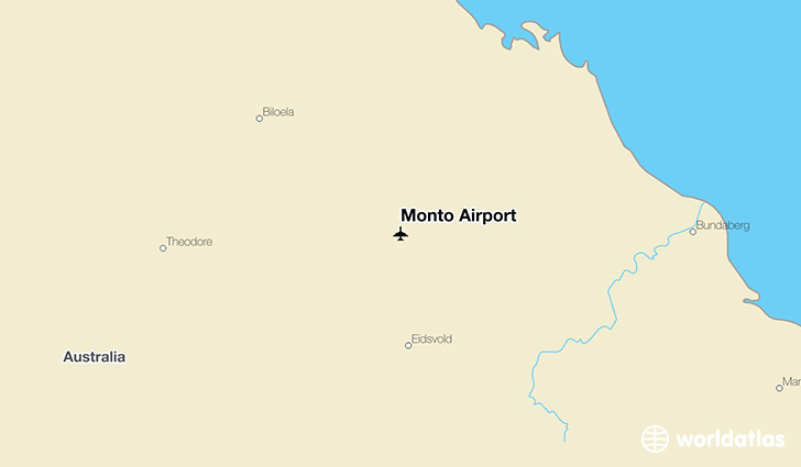 Monto Airport location on a map