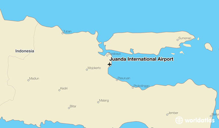 Juanda International Airport location on a map