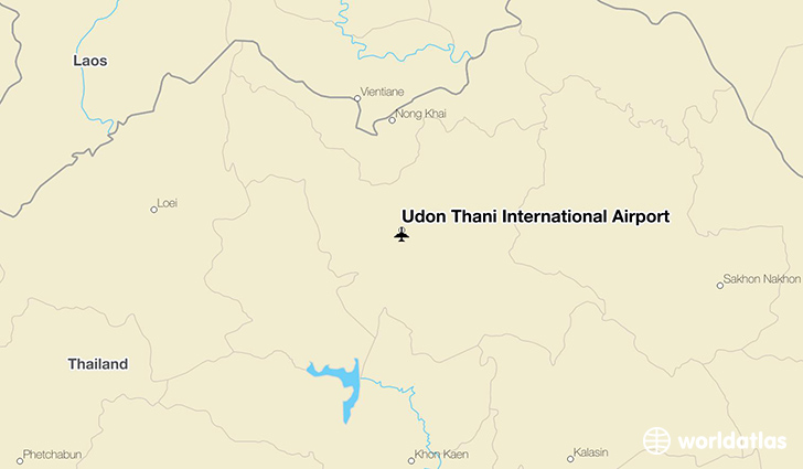 Udon Thani International Airport location on a map