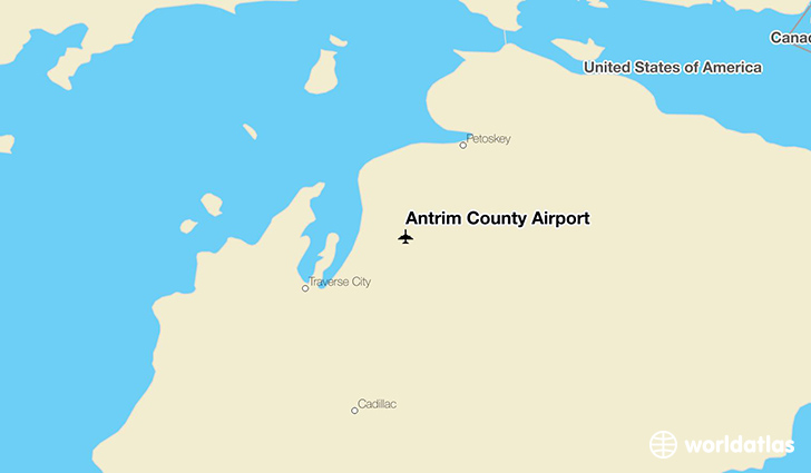 Antrim County Airport location on a map
