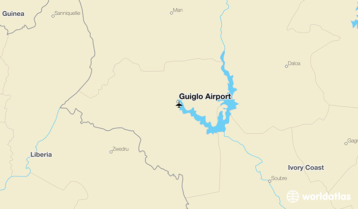 Guiglo Airport location on a map
