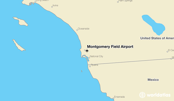 Montgomery Field Airport location on a map