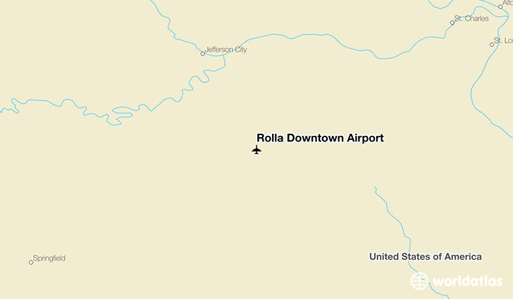 Rolla Downtown Airport location on a map