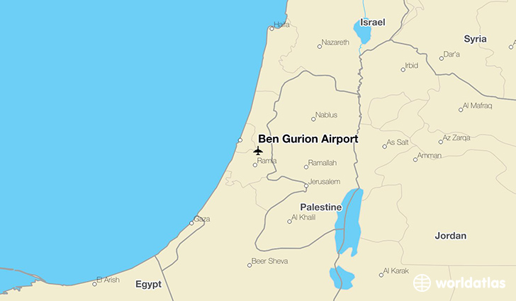 Ben Gurion Airport location on a map