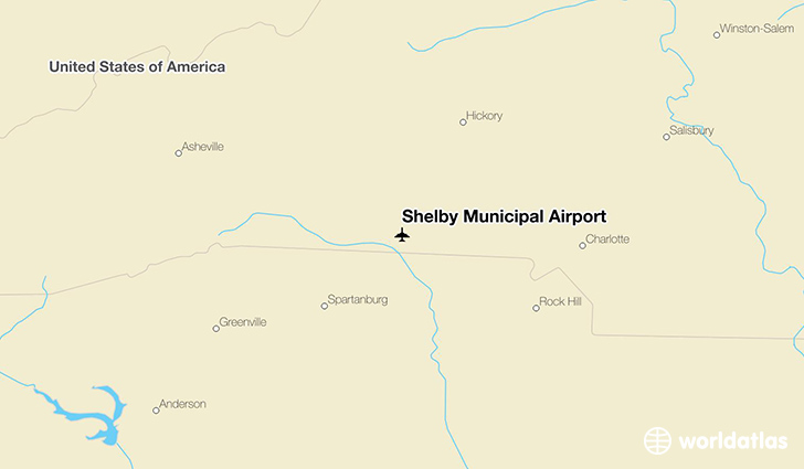Shelby Municipal Airport location on a map