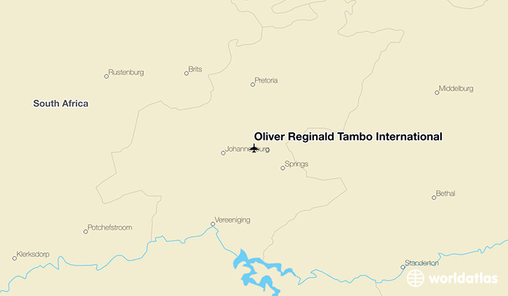 Oliver Reginald Tambo International location on a map